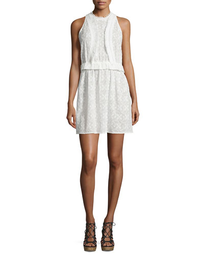 Lace Coutout-Back Sleeveless Dress w/Fringe Trim