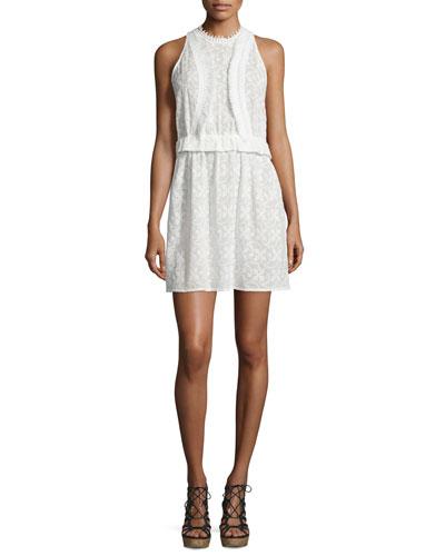 Lace Coutout-Back Sleeveless Dress w/Fringe Trim