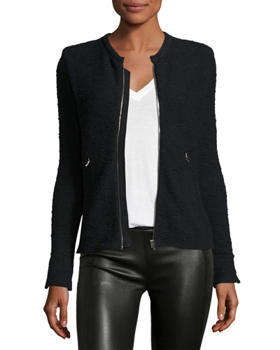 Amiya Fitted Tweed Jacket, Black