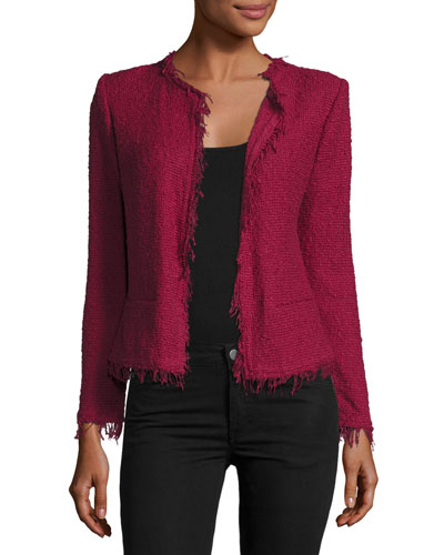Shavani Open-Front Boucle Jacket, Wine
