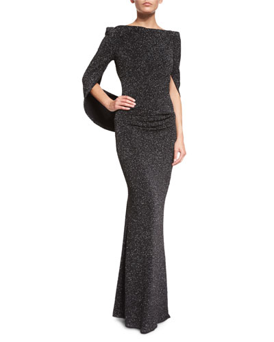 Boat-Neck Cape-Sleeve Glitter Gown, Black