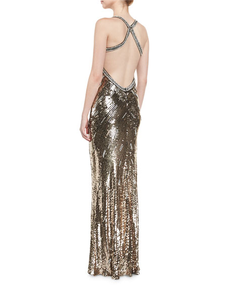 Sequined Halter V-Neck Gown, Black/Gold
