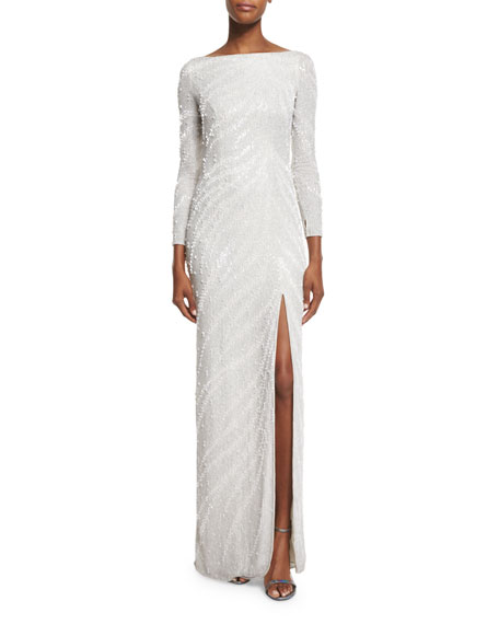 Zebra-Beaded Long-Sleeve Slit Gown, Ivory