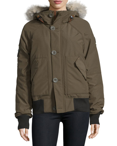 Hooded Faille Caribou Bomber Jacket, Olive Green
