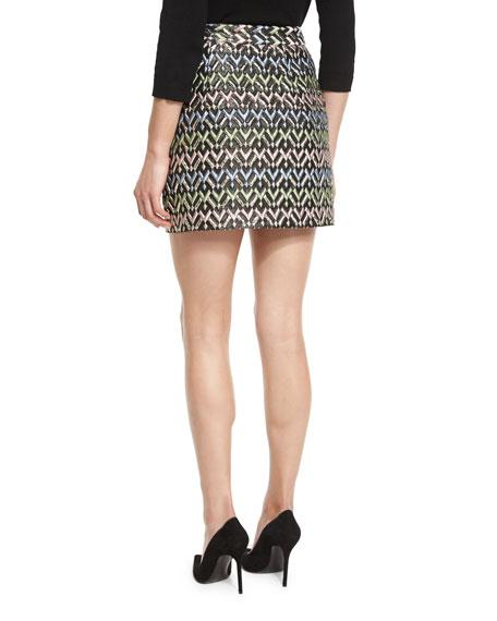 A-Line Chevron Brocade Modern Mini Skirt, Multi