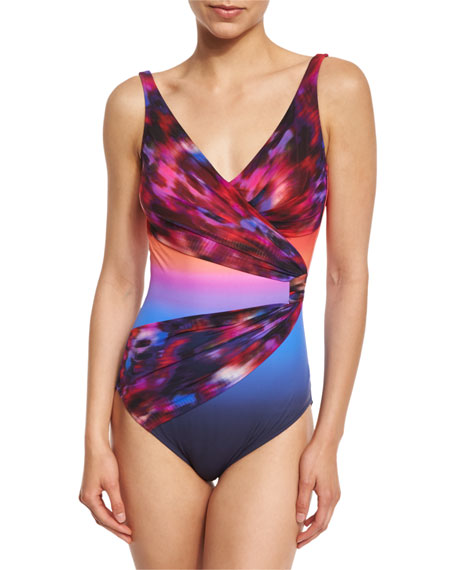 Galaxy Mixed-Print Surplice One-Piece Swimsuit