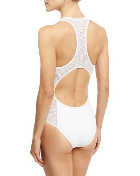 Neoprene & Mesh One-Piece Swimsuit