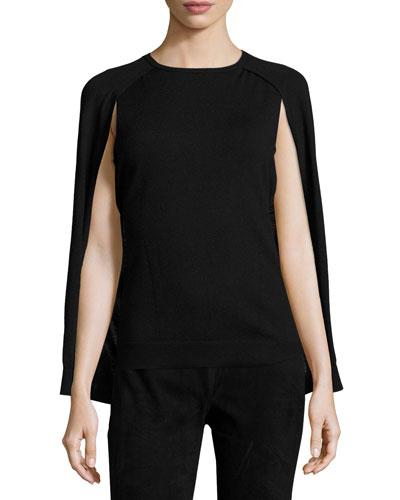 Liliana Wool Cape Sweater, Black