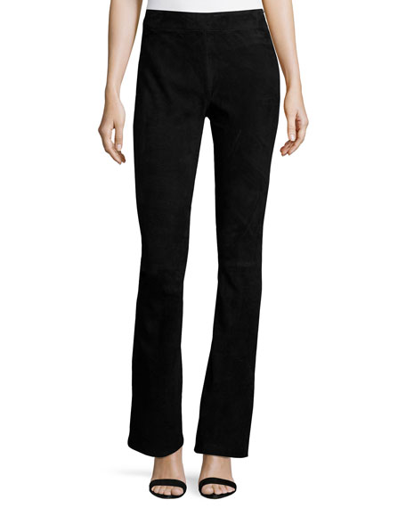 Kobi Halperin Laci Stretch-Suede Pants, Black