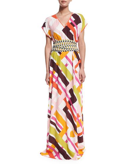 Emilio Pucci Parioli-Print Coverup Maxi Dress w/Tie, White/Pink