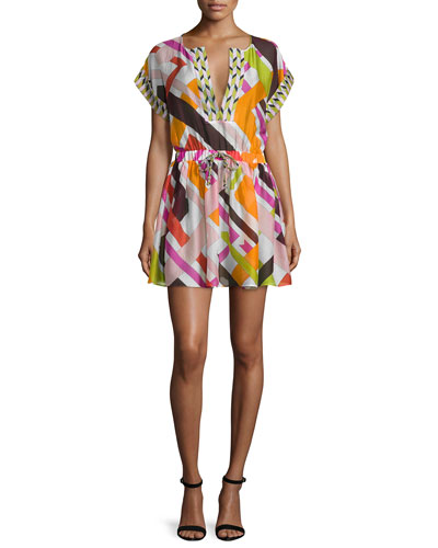 Parioli-Print Coverup Dress, White/Pink Green