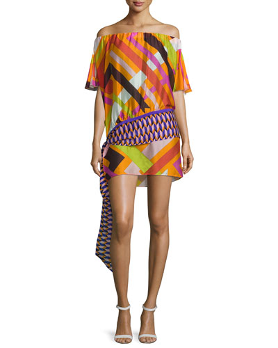 Parioli-Print Off-the-Shoulder Belted Coverup Tunic, Orange/Pink/Green