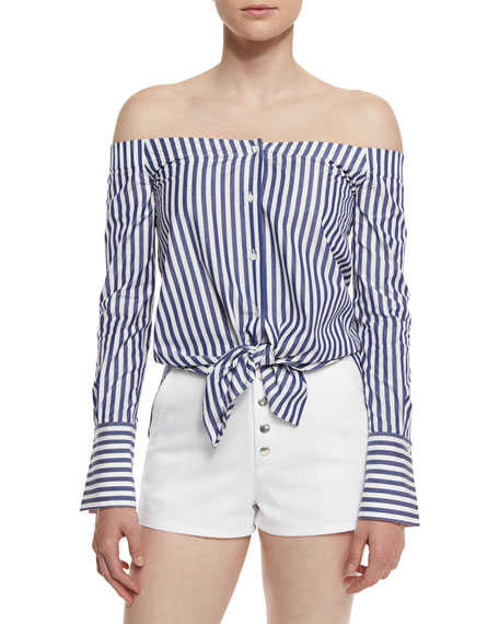 Kacy Striped Reversible Poplin Off-the-Shoulder Tunic, Navy/White
