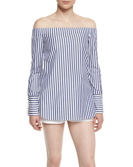 Kacy Striped Reversible Poplin Off-the-Shoulder Tunic, Navy/White