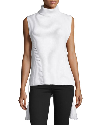 Coralie Tassel-Trimmed Sleeveless Turtleneck, Ivory