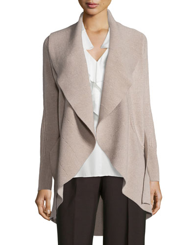 Alessandra Mixed-Stitch Belted Cardigan, Oatmeal Melange