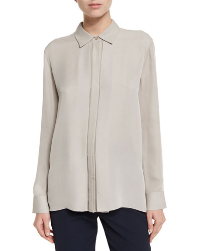 Woven Silk Button-Down Top, Taupe