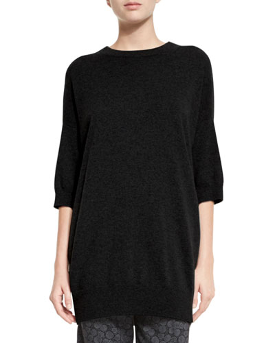 Slouchy Half-Sleeve Cashmere Sweater, Black