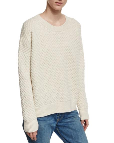 Vince Crewneck Honeycomb-Knit Sweater, Winter White