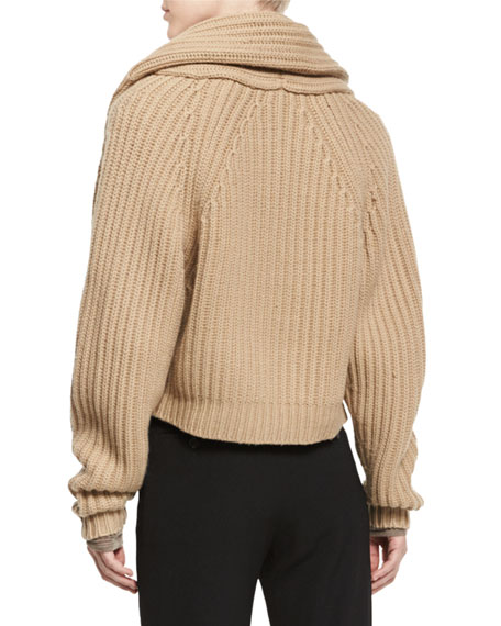 Cropped Cable-Knit Cardigan, Caramel