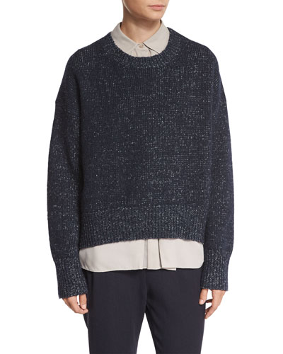 Knit Drop-Shoulder Pullover Sweater, Blue