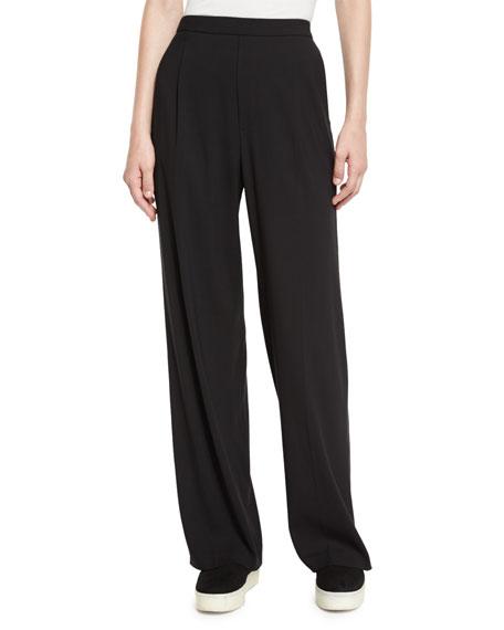 Vince High-Waist Single-Pleat Pants, Black