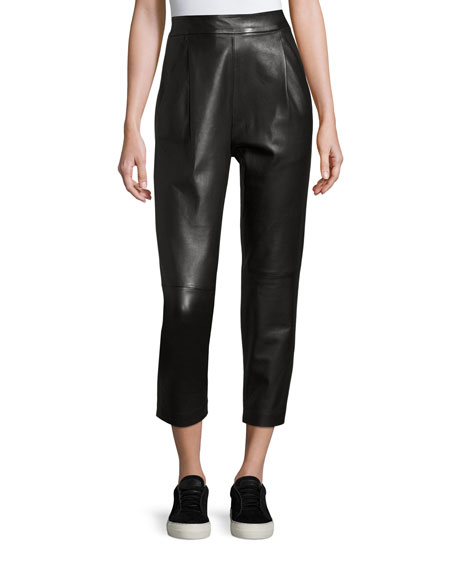 Vince Leather Single-Pleat Cropped Pants, Black