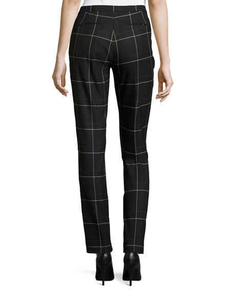 Elie Tahari Karis Windowpane Plaid Ankle Pants, Black Multi
