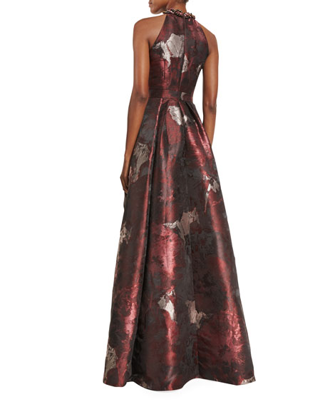 Sleeveless Abstract Floral Ball Gown, Cinnamon