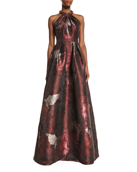Carmen Marc Valvo Sleeveless Abstract Floral Ball Gown,