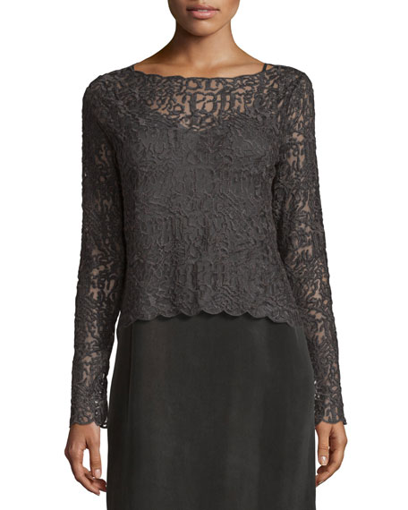 NIC+ZOE Brushed Lace Long-Sleeve Top, Plus Size