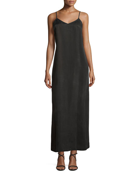 Long Cami Slip Dress, Black Onyx