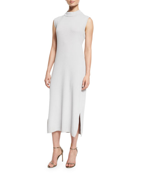 Misook Collection Sleeveless Wool-Blend Long Dress, Lunar Rock