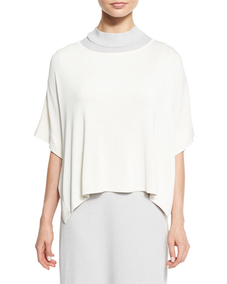 Misook Collection Short-Sleeve Silky Tunic, White