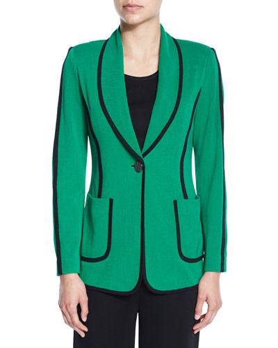 Modern Piped One-Button Jacket, Petite