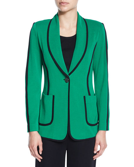 Misook Modern Piped One-Button Jacket, Petite