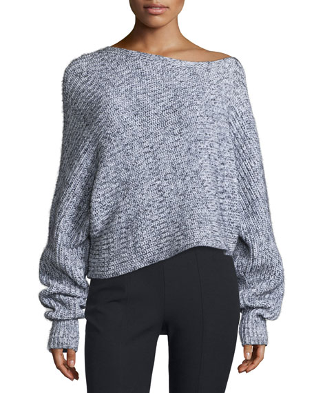 Marled Chunky Cotton-Blend Sweater, Black/White