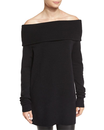 Knit Off-the-Shoulder Sweater, Black