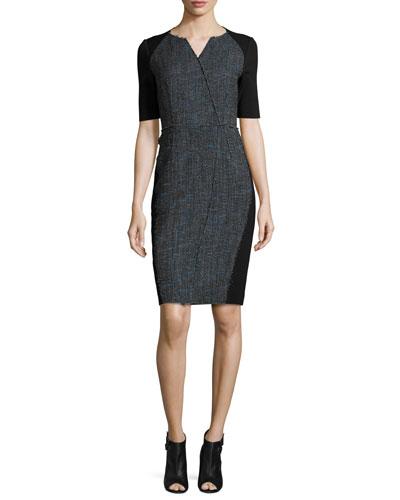 Tinsley Half-Sleeve Colorblocked Tweed Sheath Dress, Black/Blue