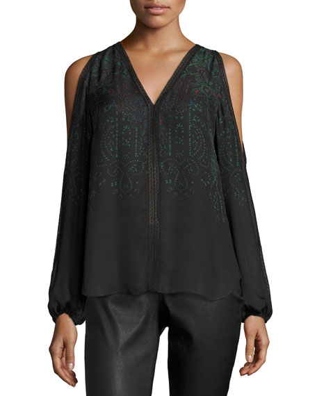 Elie Tahari Eliot Cold-Shoulder Printed Silk Blouse, Black