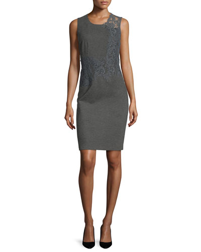Baldwin Sleeveless Lace-Trim Sheath Dress, Charcoal Melange
