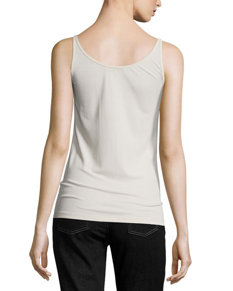 Stretch Silk Long Cami, Bone