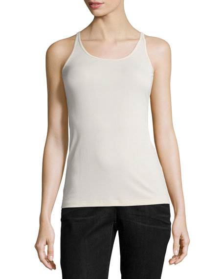 Eileen Fisher Stretch Silk Long Cami, Bone, Petite