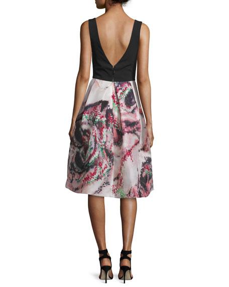 Floral Sleeveless V-Neck Cocktail Dress, Noir/Cherry