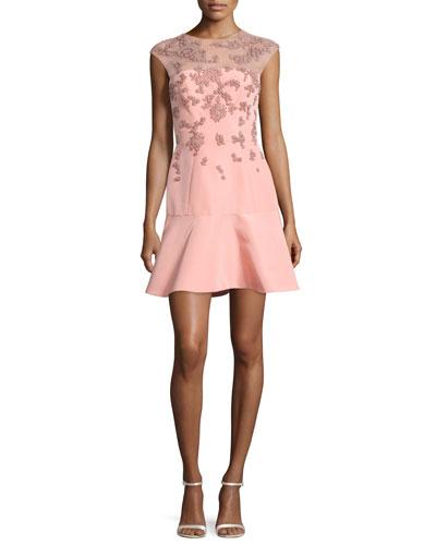 Beaded Cap-Sleeve Illusion Dress, Rose Pink
