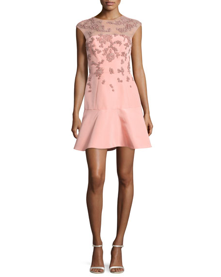 Monique Lhuillier Beaded Cap-Sleeve Illusion Dress, Rose Pink