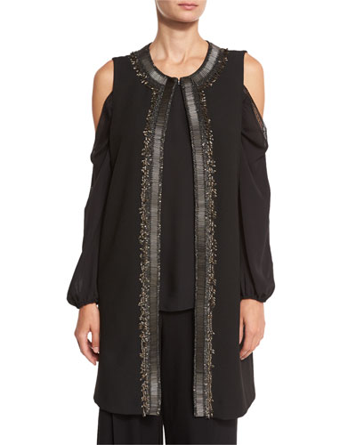 Cheyenne Long Embroidered Cold-Shoulder Vest, Black