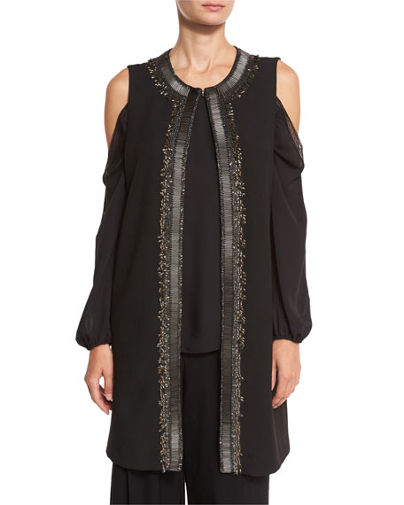 Elie Tahari Cheyenne Long Embroidered Cold-Shoulder Vest, Lindy