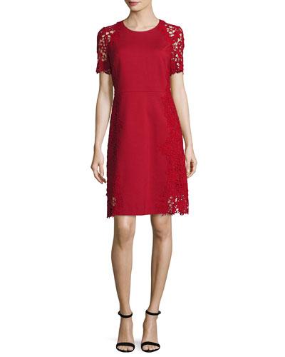 Hudson Short-Sleeve Lace-Trim Dress