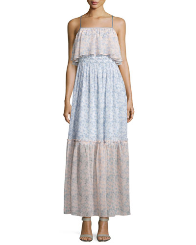 Sleeveless Floral Popover Maxi Dress, Ivory/Light Pink